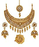 Bindhani Bollywood Style Traditional Ethnic Jewelry Gold Plated Indian Wedding Kundan Choker Bridal Bridesmaids Necklace Set With Finger Ring Jhumki Earrings Tikka For Women