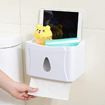 WJP Caja de pañuelos de Papel higiénico, Bandeja de Gran Capacidad para la Cocina del hogar, Caja de pañuelos Impermeable sin Perforaciones,Blanco,Cm: ...