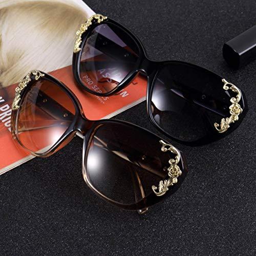 soleil Lunettes Mode Accessoires Filles Cool Femmes Rose lunettes de Sculpture De Lunettes Grandes Rétro Brown De Fleur Soleil Luxe De Vintage wOn1BCpxqw