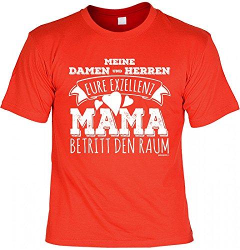 T-Shirt Mutter Mami - Eure Exzellenz Mama - Geschenk Idee mit Humor zum Muttertag oder Geburtstag - rot