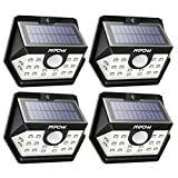 Mpow Solar Lights Outdoor 20 LED Upgraded 120° Wide-angle Motion Sensor Lights Outdoor with 30s Lighting Time Auto Prolong Function, Waterproof Wireless Security Lights for Garage Front Door Garden Pathway Lighting - 4 Pack (Auto On/Off)