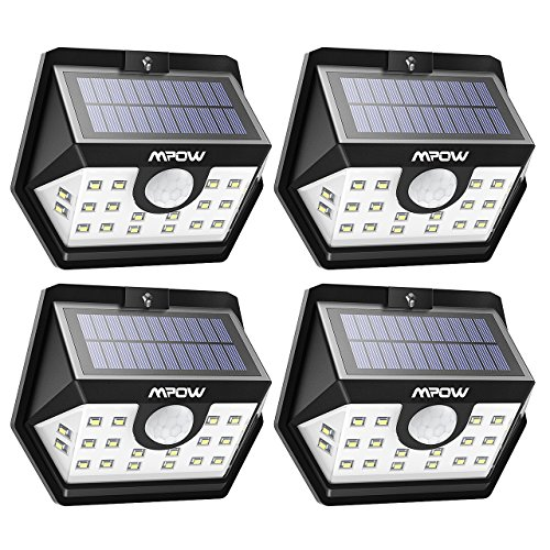Mpow Solar Lights Outdoor, Bright 20 LED Wide Angle Motion Sensor Lights with 30s Lighting Time Auto Prolong Function, IP65 Waterproof Wireless Security Lights for Garage Front Door Garden Pathway Lighting - 4 Pack (Auto On/Off)