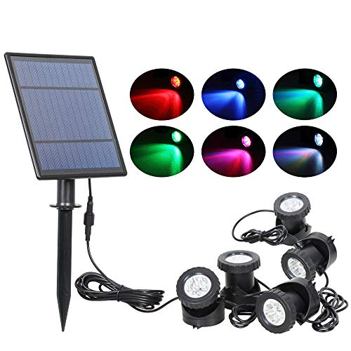 (T-SUN Solar Pond Lights, 5 Headlamp RGB LED Spotlights Outdoor Security Light Solar Fish Tank Light, Adjustable Lighting Angle for Garden Fountain, Pond, Pool Decoration Underwater LED Lights)