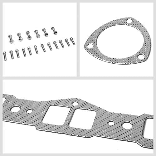 Exhaust Gasket Aluminum Graphite, Steel Bolts//Studs, Silver Works With 68-75 Oldsmobile Cutlass V8