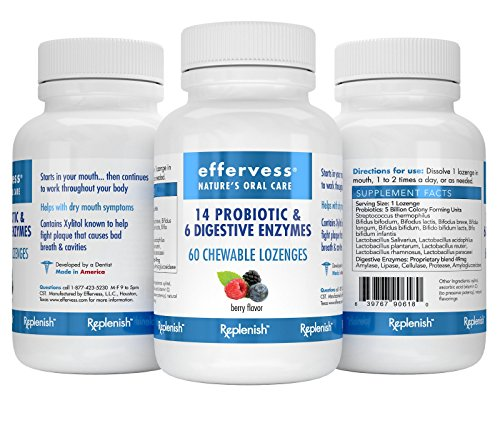 Effervess RxReplenish Dry Mouth Relief Chewable Probiotics & Digestive Enzyme Blend | 10 Billion CPU's 60 Chewable Lozenges | Most Comprehensive Probiotic in its Class | Replenishes Good Bacteria by Effervess - Professional Oral Healthcare Naturally (Image #3)