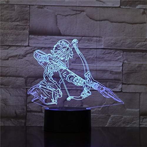 Zhuhuimin Juego Legend of Zelda lámpara de Mesa de Noche ilusión 3D Personaje muñeca decoración de la habitación lámpara niño niño bebé Regalo luz Nocturna LED: Amazon.es: Hogar