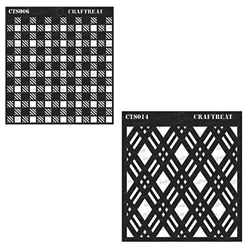 (CrafTreat Stencil - Double Diamond & Shepherds Check (2 pcs) | Reusable Painting Template for Home Decor, Crafting, DIY Albums, Scrapbook and Printing on Paper, Floor, Wall, Fabric, Wood 6