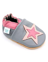 Soft Leather Baby & Toddler Shoes with Suede Soles by Dotty Fish - Girls Grey and Pink Star