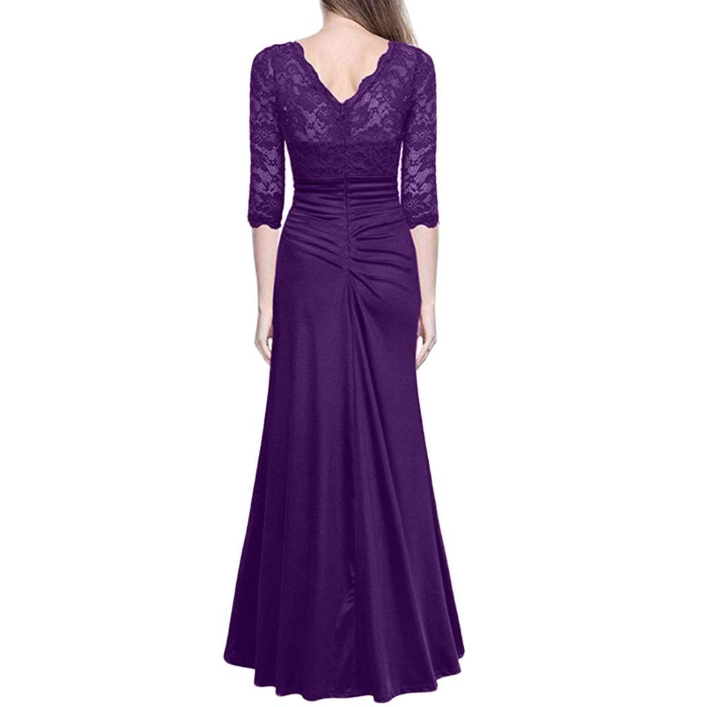 TANLANG Women Vintage Lace Wedding Evening Dress Elegant Dress Midi Skirt High Waist Long Sleeve SLIN-Fit Pencil Skirt Purple by TANLANG-Dress (Image #2)