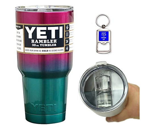YETI Coolers 30 Ounce (30oz) (30 oz) Custom Rambler Tumbler Cup Mug with Exclusive Spill Resistant Lid (Raspberry Teal)