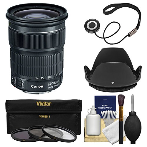 Canon EF 24-105mm f/3.5-5.6 IS STM Zoom Lens with 3 Filters + Hood + Kit for EOS 6D, 70D, 7D 5D Mark II III, Rebel T3, T3i, T5, T5i, SL1 DSLR Camera by Canon
