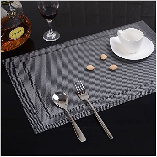 ISOTO Placemats Heat-resistant, Stain Resistant PVC Woven Vinyl Table Mats, Kitchen Eat Mats Decoration Dinnerware, Glassware, Flatware Dining Table Set of 4 (Grey)