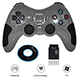 Wireless Controller Game Pad Joystick Gamepad Dual Vibration Double Controllers Turbo Clear and Auto Function with free CD for PS1 PS2 PS3 Consoles PC WIN98 ME 2000 XP VISTA WIN7 Computer Games (Gray)