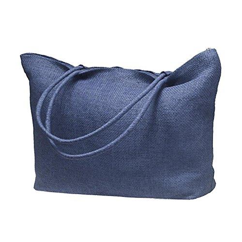 Pequeñas Hombro Casual Mujeres De Paja Azul Bolsas De Las Oscuro De Grandes Bolso Simples Bolso Aw8dFqqn