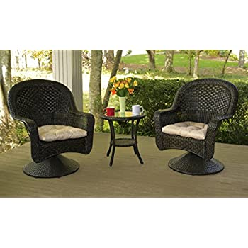 Delightful This Item Tortuga Outdoor After Dinner 3 Piece Bistro Set With Cushions    Brown   Patio Furniture   Wicker Coffee Table And Chairs   Round Table  Glass Top
