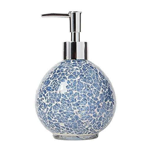 (Lotion Dispenser 14.8Oz Capacity Handcrafted Mosaic Glass Design Silver Pump Finish Liquid Soap Modern Bathroom)