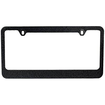 BLVD-LPF.COM Inc. Popular Bling 7 Row Black Color Crystal Metal Chrome License Plate Frame with Screw Caps - 1 Frame: Automotive