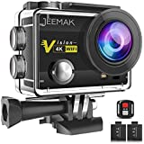 "JEEMAK Action Camera 4K 16MP Underwater Cam WiFi Waterproof 30m 170° Wide Angle Len 2"" LCD Remote Control Sports Camera with 2 Batteries 23 Accessories Kit"