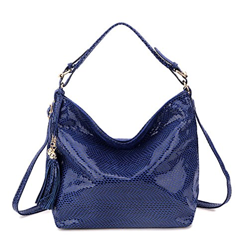 Leo Lamb Snake Leather Women Shoulder Bag Female Serpentine Pattern Hobos Bag With Tassel Women Handbag Big Red Hand Bags Blue