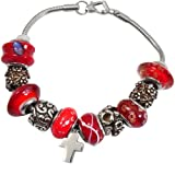 Memorial Gallery Vermillion Red Remembrance Bead Pet Cross Urn Charm Bracelet, 9''