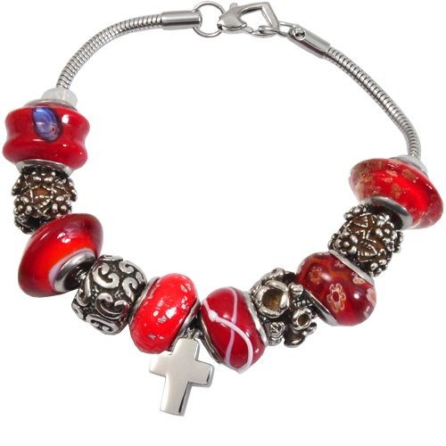 Memorial Gallery Vermillion Red Remembrance Bead Pet Cross Urn Charm Bracelet, 9'' by Memorial Gallery