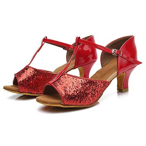 HROYL Mujer Zapatos de Baile Latino Cuero Cordón Salón de Baile 216 Rojo