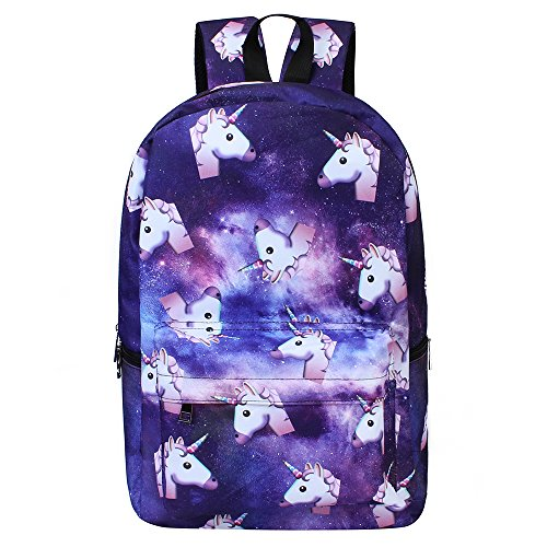 Bonamana Pink Unicorn Rainbow Bag Fantasy Backpack Rucksack School Student Travel Bags (Purple stars)