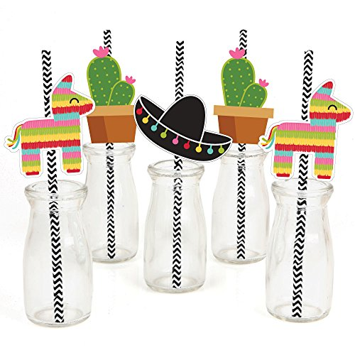 Let's Fiesta - Paper Straw Decor - Mexican Fiesta Party Striped Decorative Straws - Set of 24 (Cinco De Mayo Birthday)