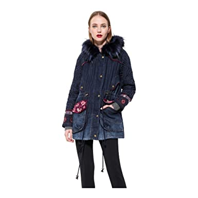 Desigual Denim Winter Coat Natasha With Embroidery (36)
