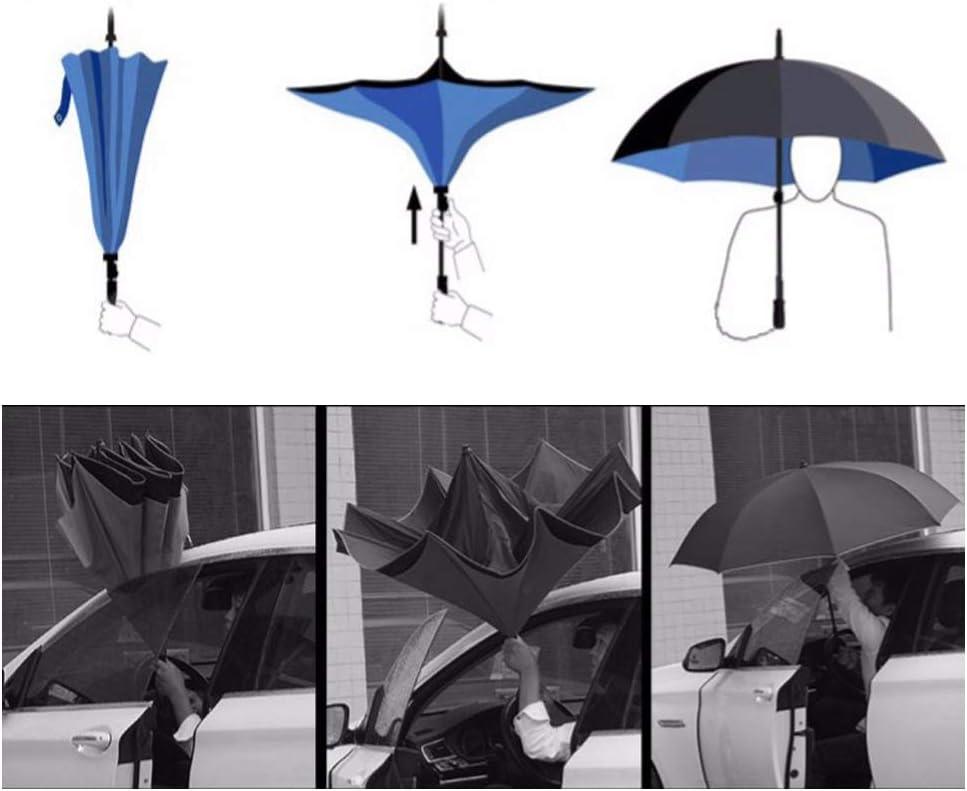 Black Reverse Umbrella Double Sun Protection 8 Umbrellas and Reflective Strips Reverse Umbrellas for Car Folding