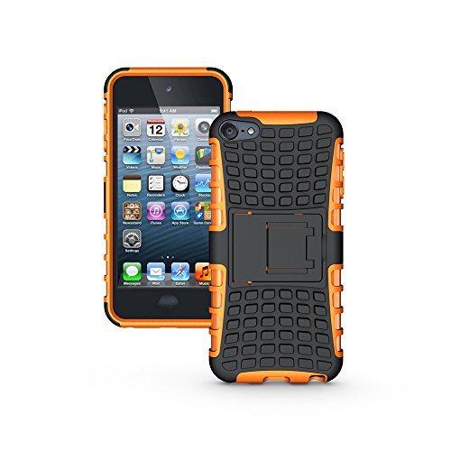 (iPod Touch 6 Case, iPod Touch 5 Case, Nicelin Hard PC Material Cover and Silicone Inner Holder 2 in 1 Kickstand Case for Apple iPod Touch 6th / Touch 5th (Orange))