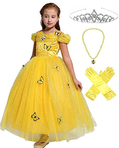 Belle Crystal Princess Party Costume Dress with Accessories (6-7, Yellow Style) by SweetNicole