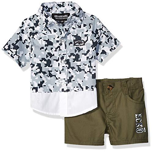 Legion Short - Ecko Baby Boys Sleeve Printed Woven Shirt and Short Set, Legion White, 24M