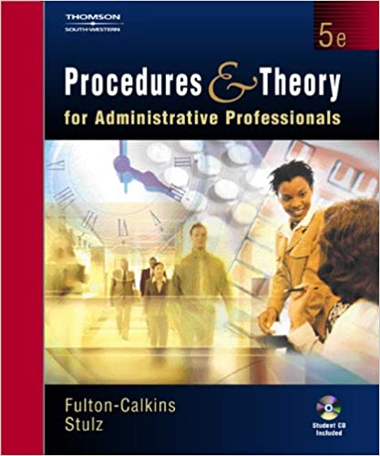 Amazon procedures and theory for administrative professionals amazon procedures and theory for administrative professionals with cd rom 9780538727402 patsy fulton calkins karin m stulz books fandeluxe Images