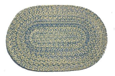 Williamsburg Blue Rug (Oval Braided Rug (2'x3'): Williamsburg Blue, Yellow & Cream - Solid )