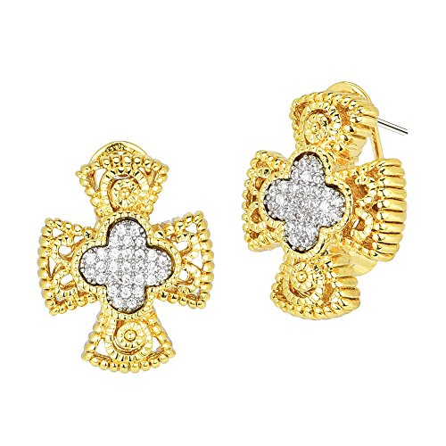 Medallion Cross with Pave CZ Omega Clip Earrings (Gold Tone)