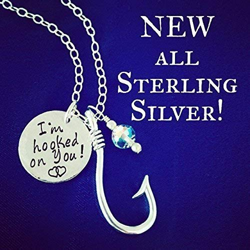 (I'm hooked on you! Sterling Silver Fishhook, Pendant and Swarovski Crystal Bead Lure Fish Hook Necklace)