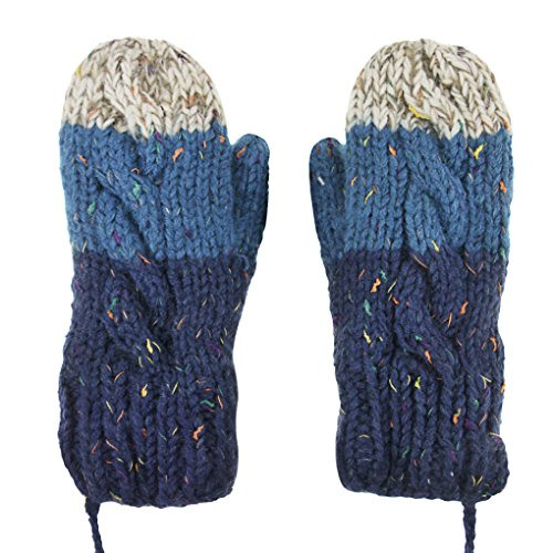 Fashion Winter Warm Thicken Knitted Gloves Soft Plush Lining Wool Knit Outdoor Shopping Cycling Ski Gloves Mittens for Women Ladies(with String), Christmas New Year Gift Blue