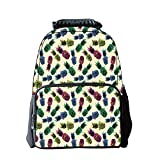 Diversified Style Schoolbag,Indie,Retro 80s Summer Pattern Tropical Fruit Pineapple Vintage Glasses in Vibrant Colors,Multicolor,for Students,Pictures Print Design