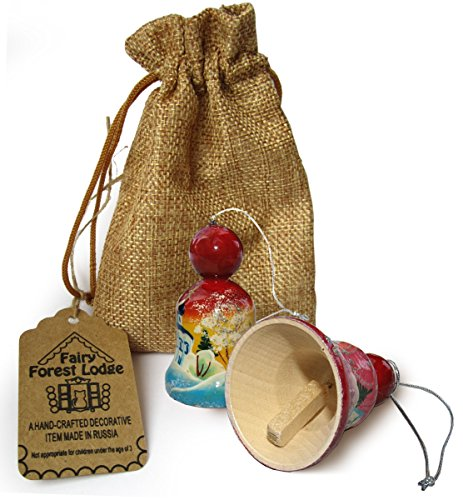 """Set of 2 Hand-painted Wooden Bells in a jute sack - Christmas Tree Ornaments - Each item Unique - Winter and Summer Landscapes with Russian Churches - 2 ⅖"""" Tall"""