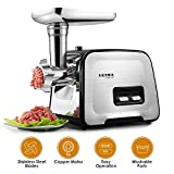 Electric Meat Grinder - Stainless Steel Meat Mincer & Sausage Stuffer, 3 Different Cutting Plates, Sausage & Kubbe Kit Included, Home & Commercial Use, Reversal Function, 2000W Max