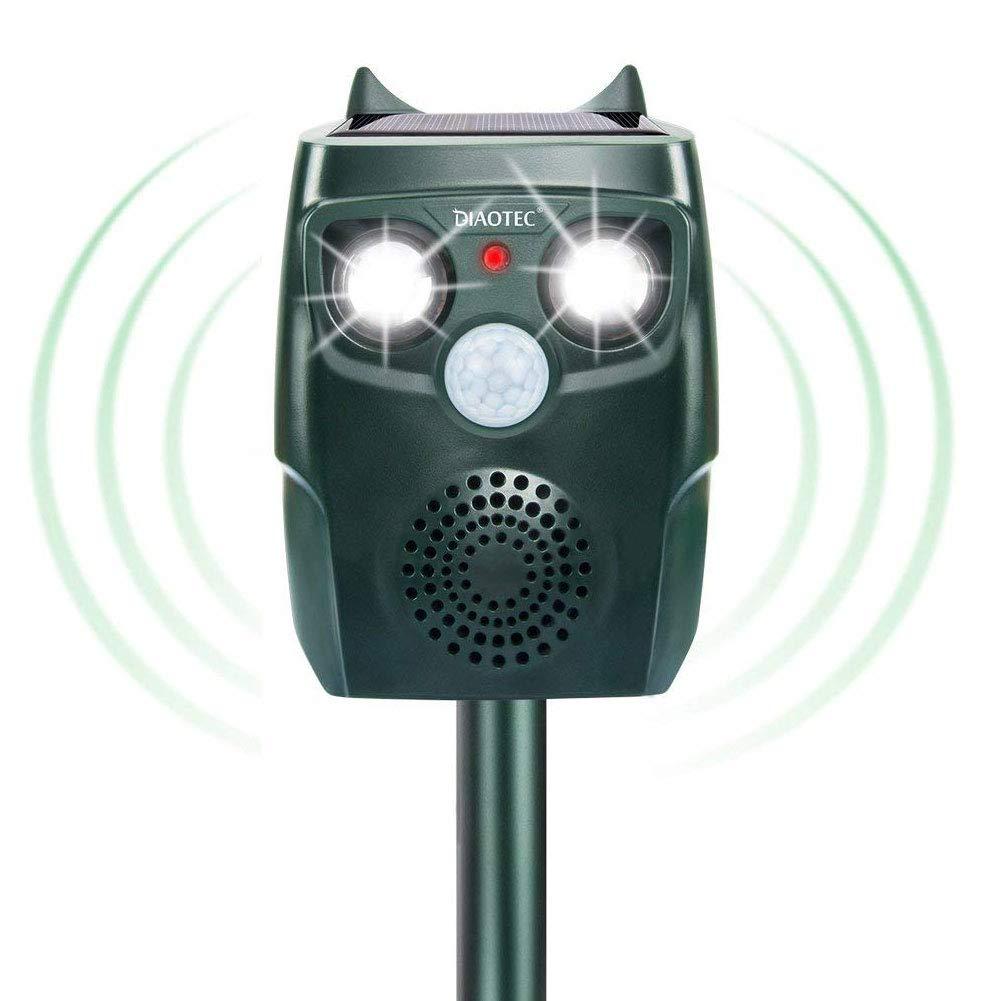 Diaotec Ultrasonic Animal Repeller Outdoor Solar Powered Animal Repellent Waterproof - Repel Cats Dogs Squirrels Birds Deer Wild Animals- Activated Motion PIR Sensor, Alarm, LED Flashing Light