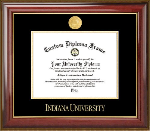 Indiana University Hoosiers - Gold Medallion - Mahogany Gold Trim - Diploma Frame (Memorial Stadium Panoramic Print)