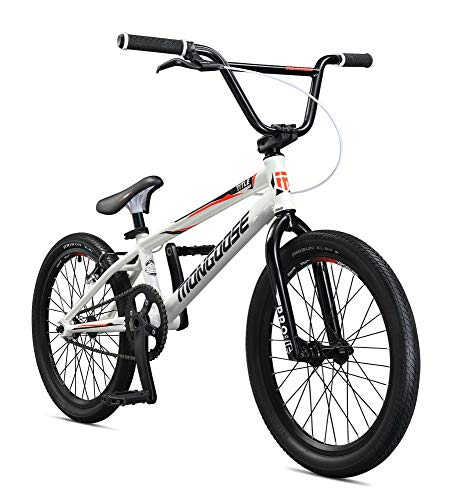 Mongoose Title Elite Pro XXL BMX Race Bike for Advanced Riders, Featuring Professional-Grade 6061 Tectonic T1 Biaxial Hydroformed and Butted Aluminum Frame with 20-Inch Wheels, White