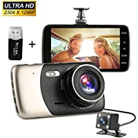 Dash Cam 1296P HD 4.0 inch Video Front and Rear Dual Lens Car Recorder G-Sensor 400 Million Motion Detection