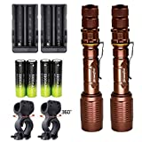Skywolfeye 2 Pack LED Flashlights Bronze Super Bright Zoomable Rechargeable Flashlight T6 2000 Lumens with 18650 Battery Charger Bike Clip for Ourdoor Camping