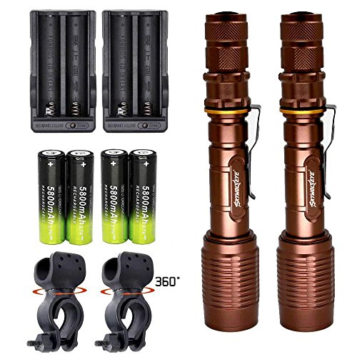 Skywolfeye 2 Pack LED Flashlights Bronze Super Bright Zoomable Rechargeable Flashlight T6 2000 Lumens with 18650 Battery Charger Bike Clip for Ourdoor Camping by Skywolfeye