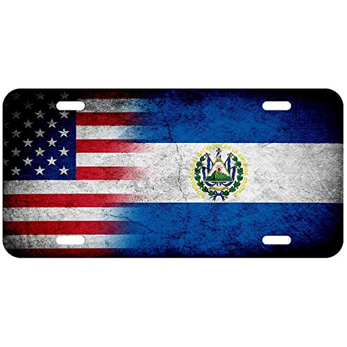 License Plate Covers Flag of El Salvador (Salvadorian) - Rustic/USA Aluminum Metal for US Cars, Country Flag Auto Tag for Women/Men, 12 x 6 Inch