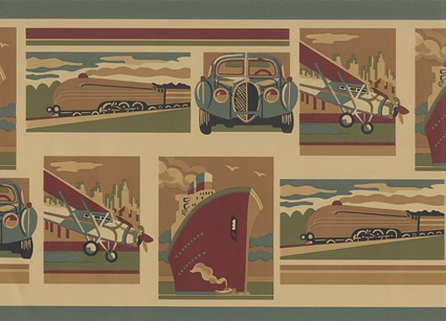 Planes Trains Automobiles Boat Car Transportation Wallpaper Border… (Wallpaper Train Border)
