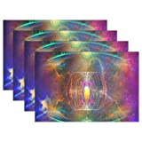 MaMacool Twin Soul Bagua Placemats Heat Resistant Dining Table Mats Non-slip Washable Place Mats set of 6